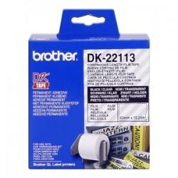 BROTHER ETICHETTE  DK-22113  ETICHETTA A LUNGHEZZA CONTINUA, 62MM X 15,24M TRASPARENTE ORIGINALE