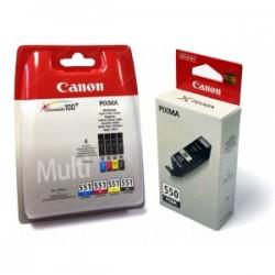 CANON MULTIPACK NERO / CIANO / MAGENTA / GIALLO / GRIGIO PGI-550 + CLI-551 6496B005 6 CARTUCCE: 1X PGI-550 + 1 CARTUCCIA