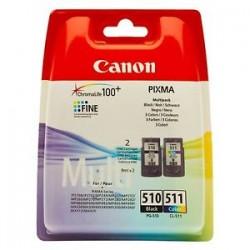 CANON MULTIPACK NERO / DIFFERENTI COLORI PG-510 + CL-511 2970B010 PG-510 + CL-511 ORIGINALE