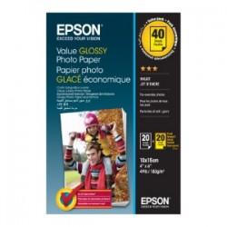 EPSON CARTA BIANCO C13S400044 VALUE GLOSSY PHOTO PAPIER VALUE GLOSSY CARTA FOTOGRAFICA, 10 X 15 CM, 183G/M², 2 X 20  FOG