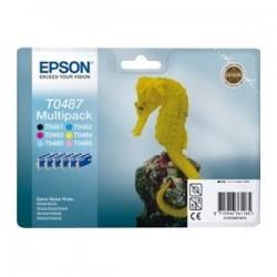 EPSON MULTIPACK NERO / CIANO / MAGENTA / GIALLO / CIANO (CHIARO) / MAGENTA (CHIARO) C13T04874010 T0487 6 CARTUCCE D\'INCH