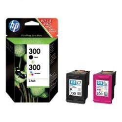 HP MULTIPACK NERO / DIFFERENTI COLORI CN637EE 300 2 CARTUCCE D\' INCHIOSTRO HP 300: CC640EE + CC643EE ORIGINALE