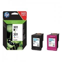 HP MULTIPACK NERO / DIFFERENTI COLORI N9J72AE 301 2X INCHIOSTRO HP 301: 1X CH561EE + 1X CH562EE ORIGINALE