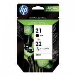 HP MULTIPACK NERO / DIFFERENTI COLORI SD367AE 21 + 22 CARTUCCE: HP 21 - C9351AE + HP 22 - C9352AE ORIGINALE