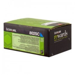 LEXMARK TONER CIANO 802SC 80C2SC0 2000 COPIE CARTUCCIA DI STAMPA RIUTILIZZABILE ORIGINALE