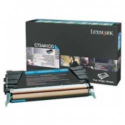 LEXMARK TONER CIANO C734A1CG  6000 COPIE CARTUCCIA DI STAMPA RIUTILIZZABILE ORIGINALE